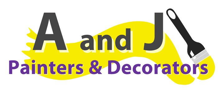 A rectangular image of the A&J Painters and Decorators logo.