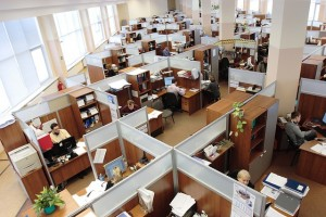 An image showing a busy office space in need of a re-design.