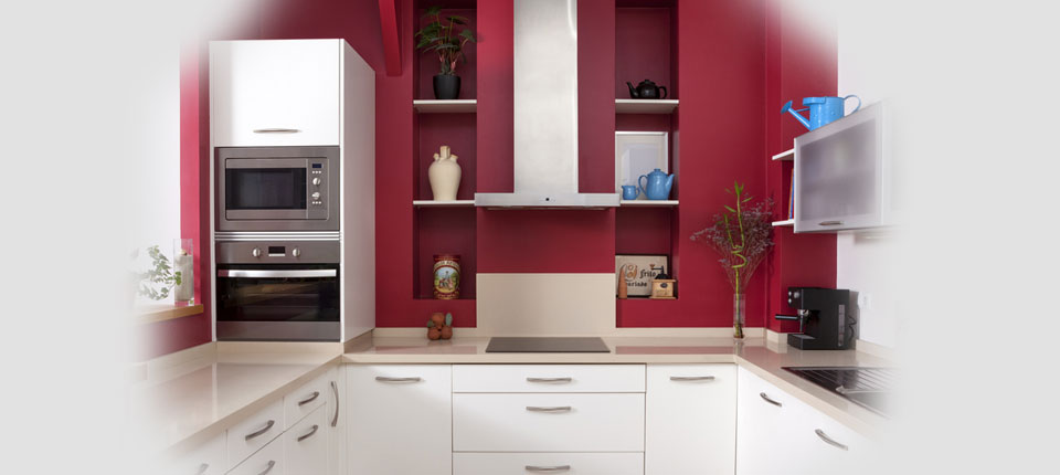 An image showing a kitchen space decorated by A&J Painters decorating contrators in Bedford