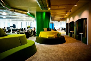 An image of the Google offices bespoke, modern interior.